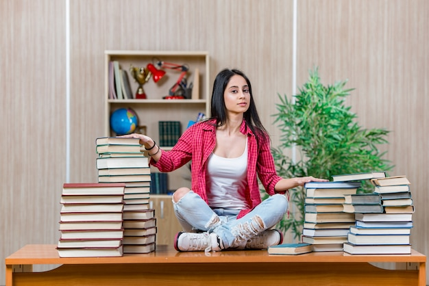 Young female student preparing for college school exams Premium Photo