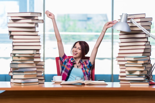 Young female student preparing for exams Premium Photo