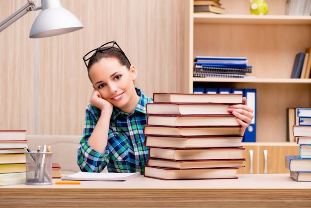 Young female student preparing for exams Premium Photo