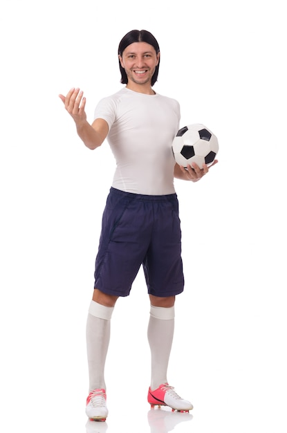 Young footballer isolated on the white Premium Photo