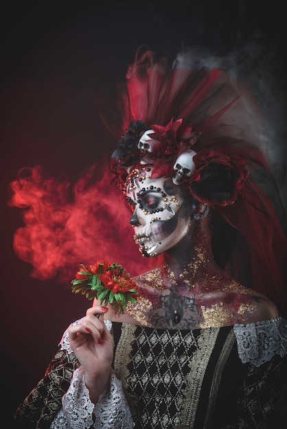 Young Girl In The Image Of Santa Muerte Photo Premium Download