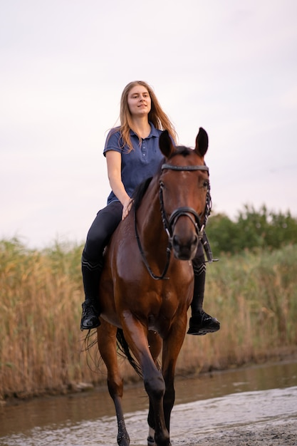 A young girl riding a horse on a shallow lake, a horse runs on water at sunse Premium Photo