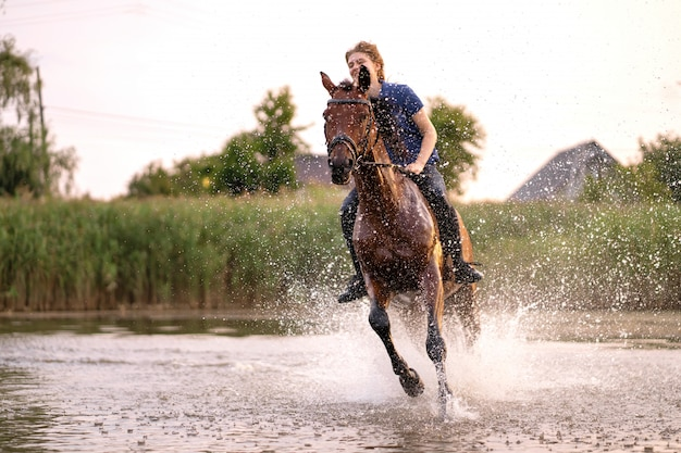 A young girl riding a horse on a shallow lake, a horse runs on water at sunset, care and walk with the horse, strength and beauty Premium Photo