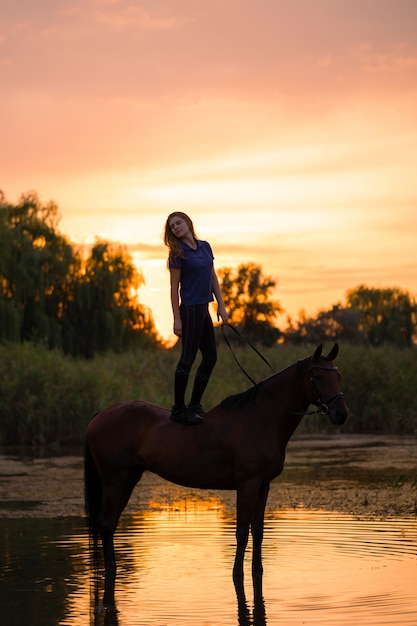 A young girl riding a horse on a shallow lake, Premium Photo