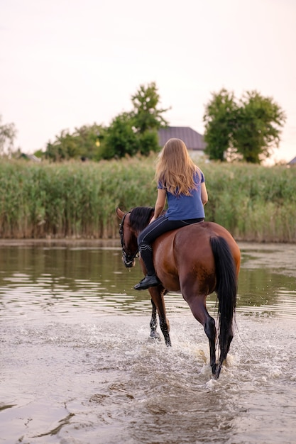 Young girl riding a horse on a shallow lake Premium Photo
