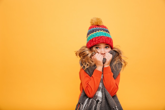 Young girl in sweater, scarf and hat having cold while looking at the camera over orange Free Photo