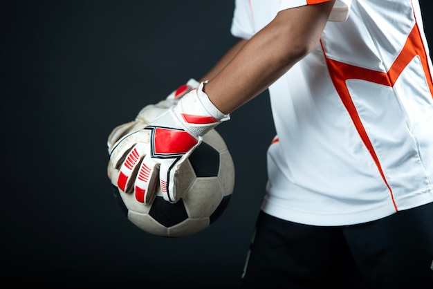 Young goalkeeper soccer man isolated of academy soccer team Free Photo