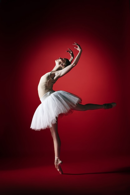 Young graceful female ballet dancer or classic ballerina dancing at red studio. Free Photo