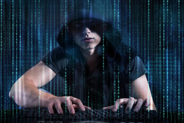 Young hacker in digital security concept Premium Photo