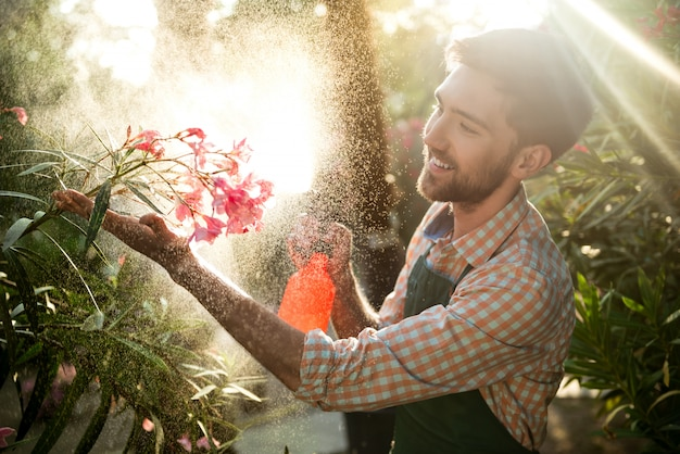 Young handsome gardener smiling, watering, taking care of flowers Free Photo