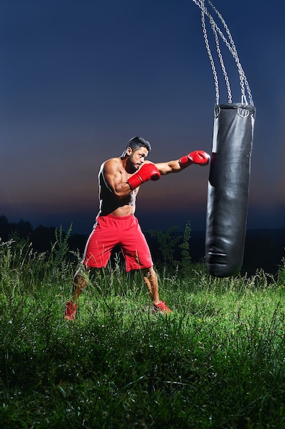 Young handsome male boxer practicing on a punching bag Premium Photo