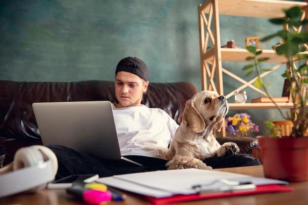 갈색 소파에 앉아 그의 귀여운 강아지와 함께 일하는 젊은 잘 생긴 남자 무료 사진