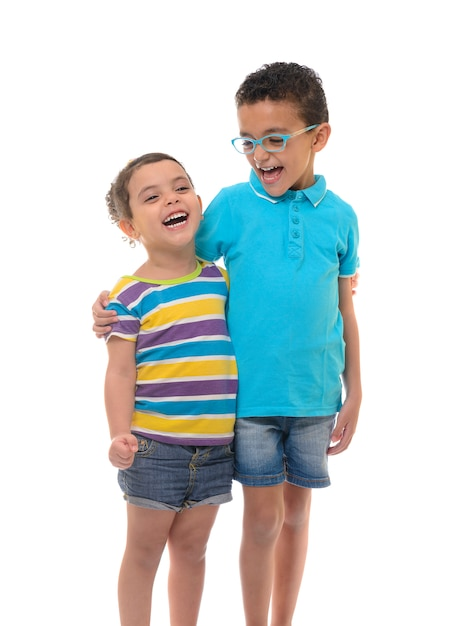 Young happy boy and girl Premium Photo