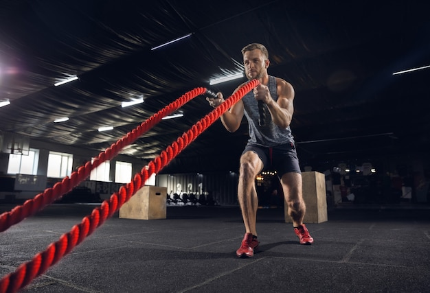 Young healthy man, athlete doing exercise with the ropes in gym. single male model practicing hard and training his upper body. concept of healthy lifestyle, sport, fitness, bodybuilding, wellbeing. Free Photo