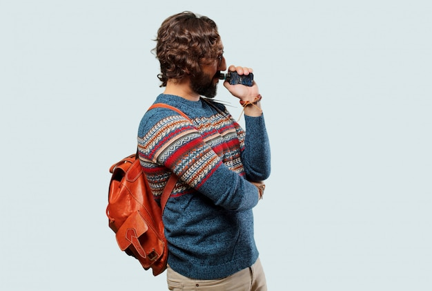 Young hippie man with a electronic cigarette Premium Photo
