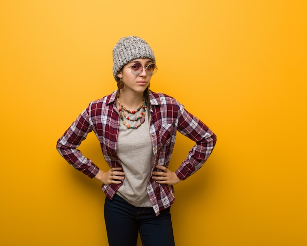 Young hippie natural woman scolding someone very angry Premium Photo