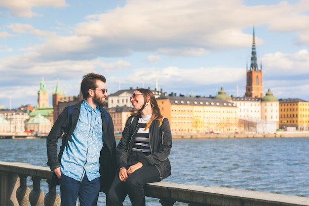 Young hipster couple visiting stockholm Premium Photo