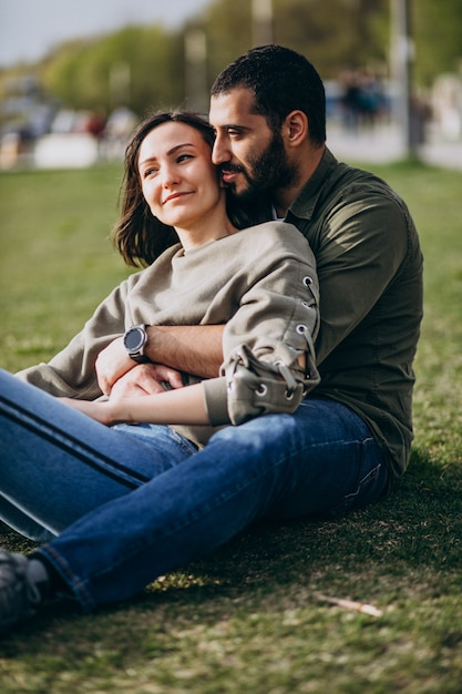 Young international couple together in park Free Photo