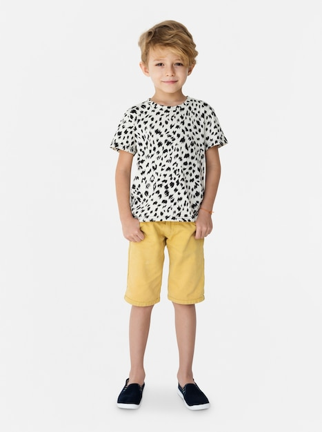 Young kid boy full body standing smiling isolated portrait Premium Photo