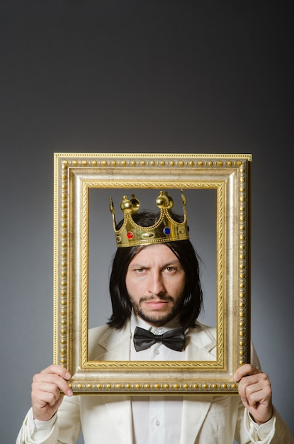 Young king businessman in royal concept Premium Photo