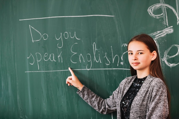 Young lady in english lesson Free Photo