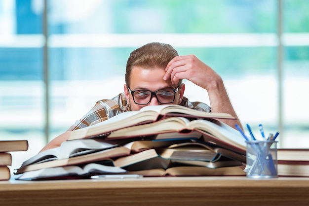 Young male student preparing for high school exams Premium Photo