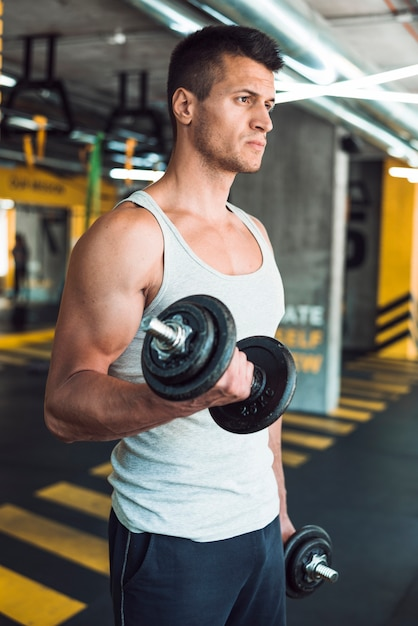 Young man doing exercise with dumbbells Free Photo