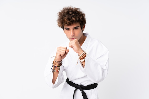 Young man doing karate Premium Photo