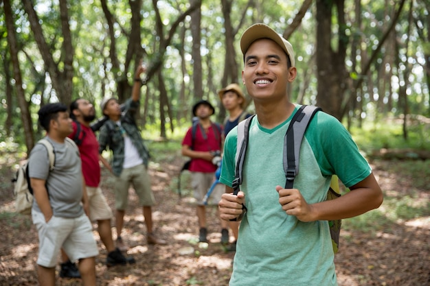 Young man hiker smiling Premium Photo
