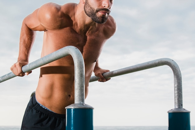 Young man intense practice workout outdoor Free Photo