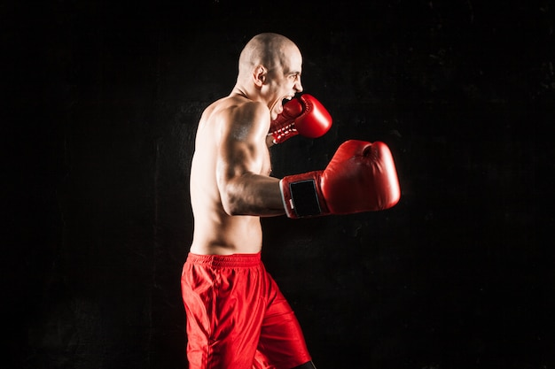 The young man kickboxing on black Free Photo