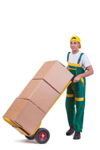 Young man moving boxes with cart isolated on white Premium Photo