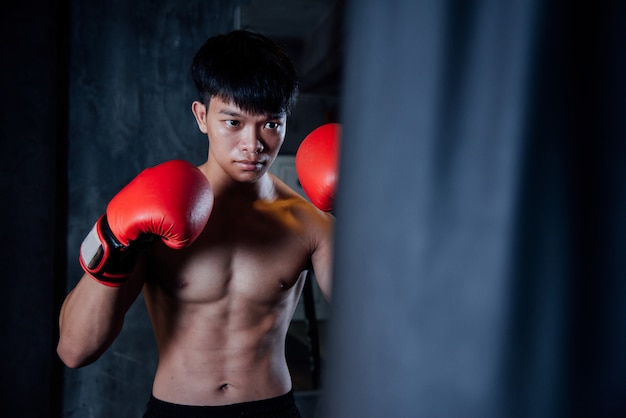 Young man strong sports man boxer make exercises in gym, healthy concept Free Photo
