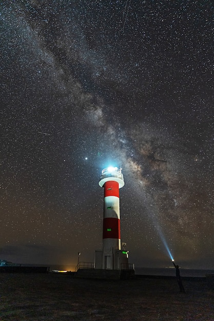 A young man with a flashlight at the fuencaliente lighthouse with the milky way on the route of the volcanoes south of the island of la palma, canary islands, spain Premium Photo