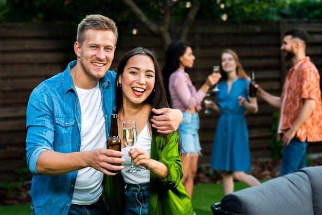 Young man and woman celebrating friendship Free Photo
