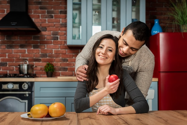Young man and woman together in love Free Photo