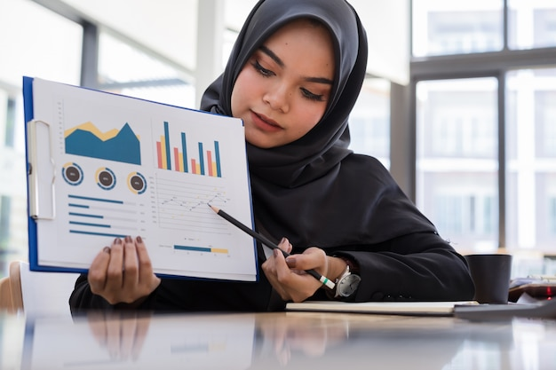 Young muslim business people wearing black hijab presenting business report in meeting. Premium Photo