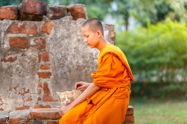 Young novice monks playing cat in old temple at ayutthaya province, thailand Premium Photo