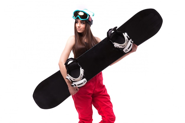 Young pretty woman in black short tank top hold snowboard Premium Photo