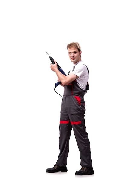 Young repairman with drill perforator isolated on white Premium Photo