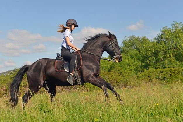 Young riding girl Premium Photo