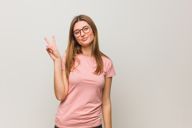 Young russian natural girl doing a gesture of victory Premium Photo