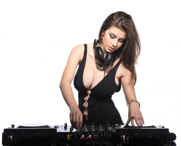Young sexy dj woman isolated Premium Photo