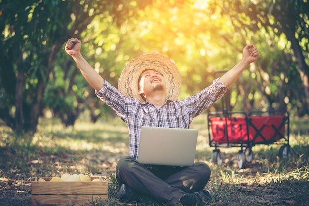 Young smart farmer working with tablet in mango orchard, agricultural bisiness concept Premium Photo