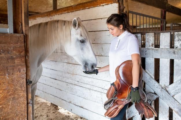 Молодая спортивная женщина держит коричневое кожаное седло во время кормления белых породистых скаковых лошадей в конюшне перед гонкой Premium Фотографии
