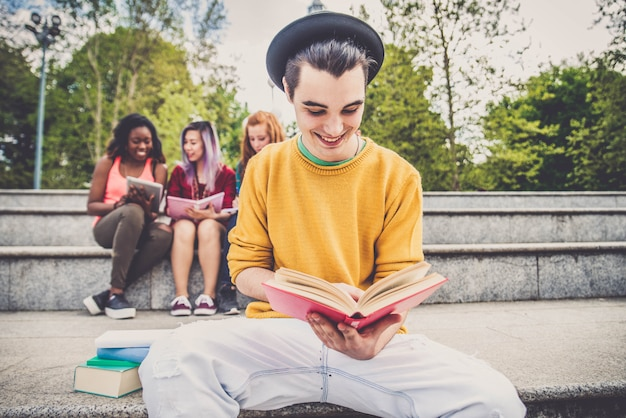 Young students outdoors Premium Photo