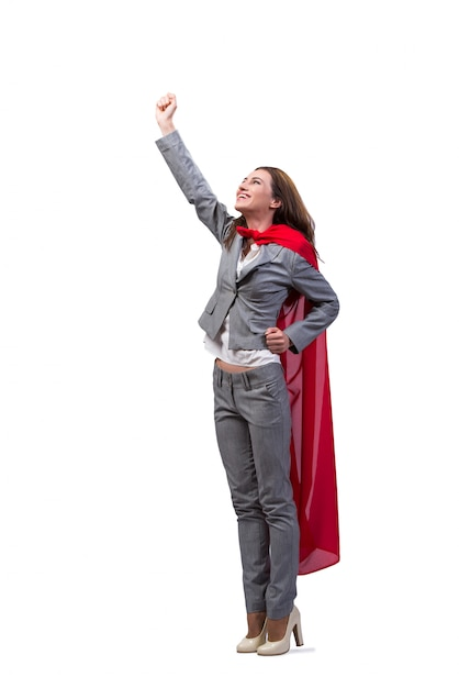 Young superwoman isolated on white Premium Photo