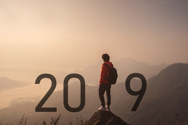 Young traveler standing and looking at beautiful landscape on top of mountain Premium Photo
