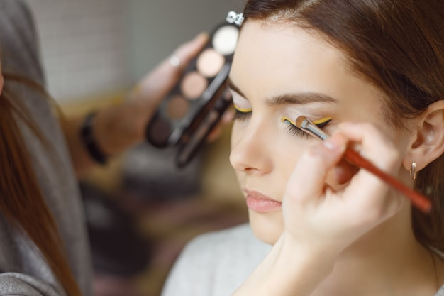 Young woman applying makeup to model in salon Premium Photo
