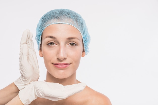 Young woman before medical injection Premium Photo
